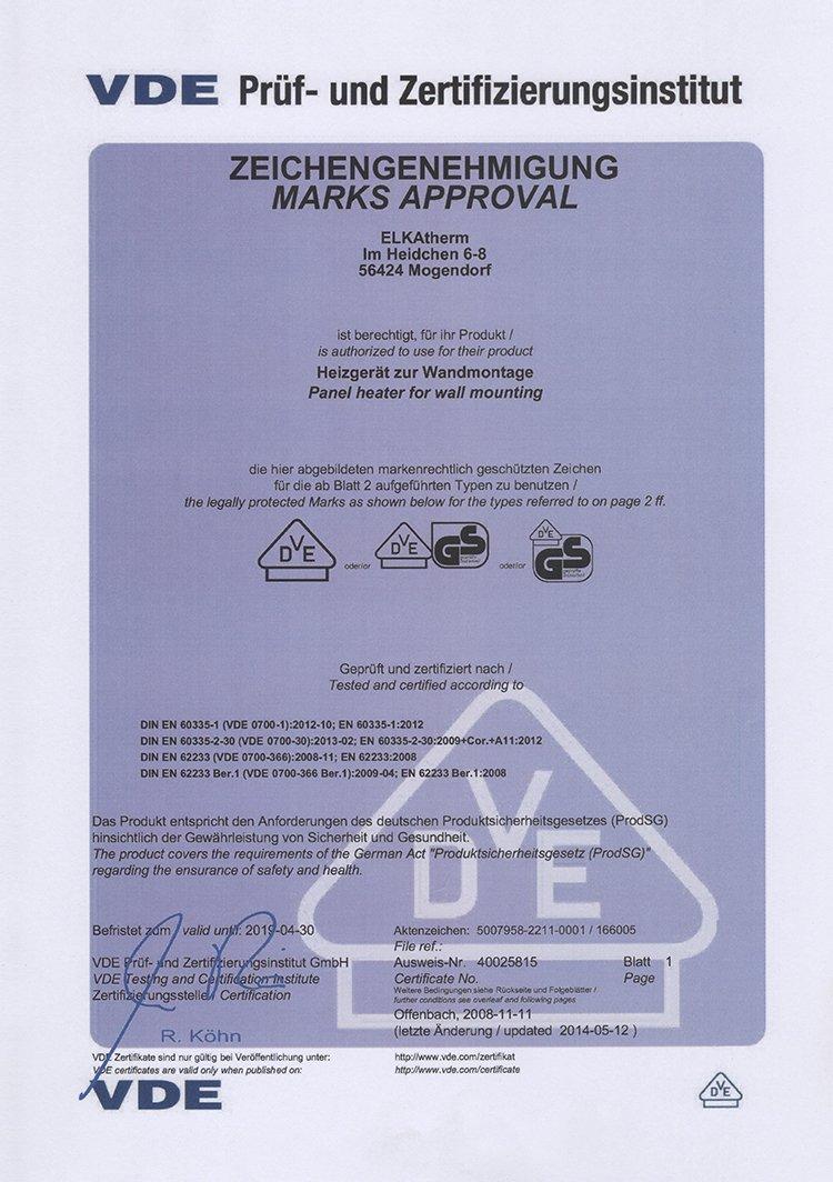 Das ELKATHERM VDE Zertifikat