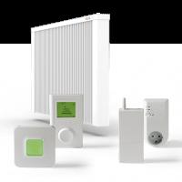 ELKATHERM Elektroflächenspeicherheizung PL81, programmierbares Funkthermostat 712, Funkaufputzempfänger 714 oder Funksteckdosenempfänger 713, Router 701EU, ErP-Ready