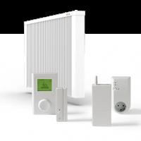 ELKATHERM Elektroflächenspeicherheizung PL300, PLD300, programmierbares Funkthermostat 712, Funkaufputzempfänger 714, Fensterkontaktschalter 710K oder 710G, ErP-Ready