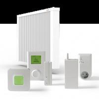 ELKATHERM Elektroflächenspeicherheizung PL81, programmierbares Funkthermostat 712, Funkaufputzempfänger 714 oder Funksteckdosenempfänger 713, Fensterkontaktschalter 710K oder 710G, Router 701EU, ErP-Ready