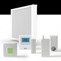 ELKATHERM Elektroflächenspeicherheizung PL300, PLD300, Funksender Standard 716, Funkaufputzempfänger 714, Fensterkontaktschalter 710K oder 710G, Router 701EU, ErP-Ready
